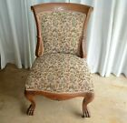 Early 20th Century Antique Oak Side Chair Claw Feet Original Casters, USA