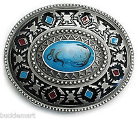 Indian Native American Turquoise Color Belt Buckle western turqoise Hand painted