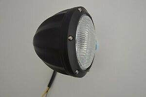 Hot Rod Retro Car Headlight 12v Matte Black Aluminium Bottom Mount UK Retailer
