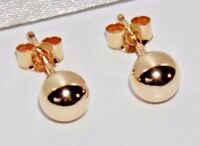 9ct Gold 5mm Plain Ball Stud Earrings - (1) Pair - Men's or Ladies ~ .375