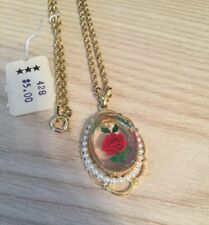 """Nos Gold Tone Red Rose Faux Pearls Pendant Style Dress Necklace - 18"""" inch Chain"""