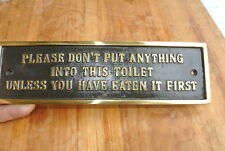 "solid brass sign"" toilet "" screw to door cast heavy vintage style 23 cm long B"