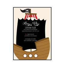 Pirate Party PERSONALIZED Birthday Party Invitations - Set of 16