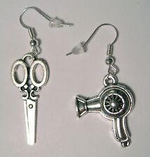 cute Scissors + Hair Dryer Charm Silver Plated dangle hook Earrings new