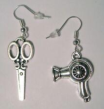 cute Scissors + Hair Dryer Charm Silver Plated dangle hook Earrings new