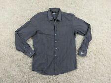 Dolce Gabbana Gold Button Up Shirt Men 17/43 35 Sleeves Blue White Striped