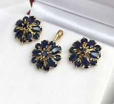 14k Solid Yellow Gold Cluster Pendant Earrings  Set, Natural Sapphire 5.19 Grams