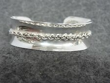 Bracelet With Rope Design Center Wide Sterling Silver Concave Cuff