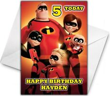 THE INCREDIBLES 2 Personalised Birthday / Christmas / Card - Large A5