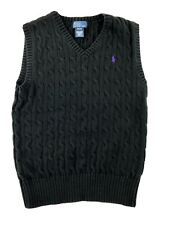 Boys Polo Ralph Lauren Black Cableknit Sweater Vest Medium 10 12