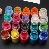 24 Farbe Mica Epoxidharz-Dye-Perlen-Pigment natürlicher Glimmer Mineral Powd Neu