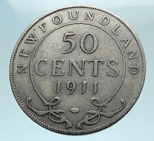 1911 CANADA Newfoundland UK King George V Genuine SILVER 50 CENTS Coin i78652