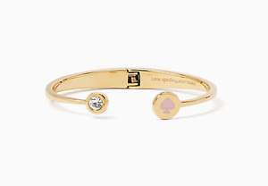 Kate Spade Light Pink Gold Spot the Spade Open Hinge Bracelet NEW Tags Authentic
