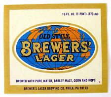 Brewer's Lager Brewing Co OLD STYLE BREWERS' LAGER beer label PA 16oz