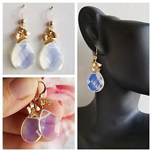 Opal Opalite GEM STONE BRIOLETTE 14k GOLD FILLED Drop EARRINGS by AnnTig