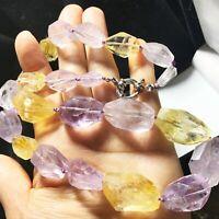 Amethyst&Citrine Natural Quartz Crystal Spiritual Healing Energy Necklace