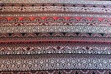 Ethnic Stripe Print Viscose Elastane Dress Fabric Material(Red/Ivory/Black)