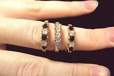 white green red crystal 5 stone ring trio gold tone size 8 stackable set Avon