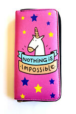 Unicorn Nothing is Impossible Pink Clutch Handbag Purse Wallet