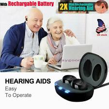 1Pair Rechargeable Digital Mini Ear Hearing Aid Enhancer Sound Voice Amplifier