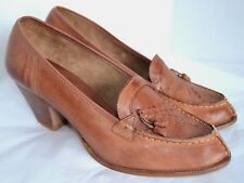 Renditions Pumps Womens 10 B Brown Leather Tassel Wood Heel Moccasin Shoes Retro