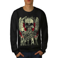 Wellcoda Relax Metal Rock Skull Mens Sweatshirt, Rose Casual Pullover Jumper