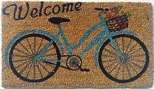 Welcome Bicycle Front Door Coir Vinyl Mat Rug Vintage Decor Outdoor Indoor