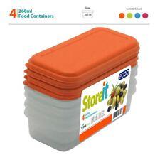 4 x 260 ml privo di BPA plastica Contenitore per Cibo Scatola Di Immagazzinaggio Set Coperchio Vasca da Bagno