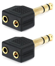 "2x Stereo 6.35mm 1/4"" Male Plug to 2 3.5mm Female Jack Audio Splitter Adapter"