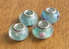 4 x Beads Sterlingsilber und Glasperle  AUS ECHTEM SILBER und Milchglas hellblau
