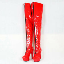 Mid Thigh High Boots For Women Extra High Heels 15Cm Platform Red Custom Boots