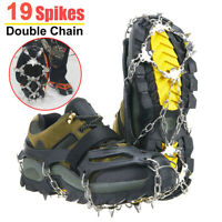 19 Teeth Ice Snow Anti Slip Spikes Grips Grippers Crampon Cleats For Shoes Boots