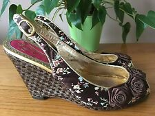 Poetic Licence brown satin floral peep toe wedge sling back shoes UK 6 EU 39