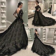 Black V Neck Wedding Dresses Bridal Gowns Long Sleeves Lace Applique  Plus size