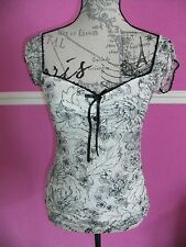 JANE NORMAN BLACK & OFF WHITE LACE FLORAL gypsy wench stretch  TOP 12 10 8