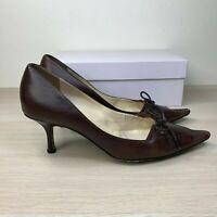 Jimmy Choo Women's Ribbon Brown Coffee Kid Leather Heels Pumps $480 37.5 / 7.5