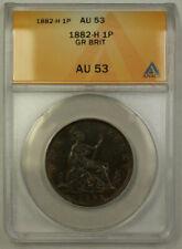 1882-H Great Britain 1 Penny Copper Coin Queen Victoria ANACS AU 53