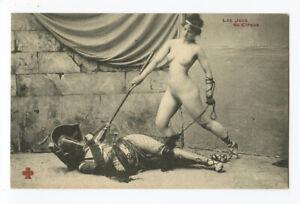 c 1910 French Risque Nude ROMAN LADY Gladiators Arena Battle photo postcard 5
