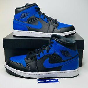 Nike Air Jordan 1 Mid Hyper Royal Blue Black Men's & GS Sizes 554724-077