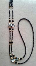 !! NASCAR LOVER BEADED CRYSTAL CHECKERED CHECK EYEGLASS  CHAIN  HANDMADE !
