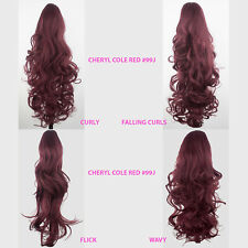 PONYTAIL Clip in Hair Extensions Cheryl Cole Red #99J REVERSIBLE 4 Styles