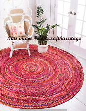 Handmade Braided Round Area Rug Rag Boho Natural Red Colour Cotton Mat Floor Rug