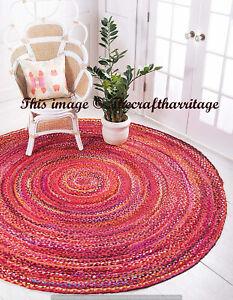 Handmade Braided Round Area Rug Rag Boho Natural Red Colour Cotton Mat Floor Rug