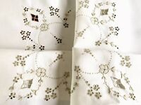 VINTAGE HAND EMBROIDERED OFF WHITE & TAUPE LINEN TABLECLOTH 33x33 Inches