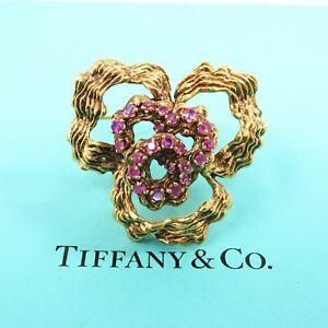 NYJEWEL Tiffany & Co 18k Yellow Gold 2.8ct Natural Ruby Large Pin Brooch 27g