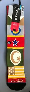 AUTHENTIC STANCE CHOCOLATE FLAGS MEN'S COMBED COTTON SOCKS L-XL