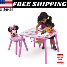 Disney Minnie Mouse Wood Kids Storage Table and Chairs Set by Delta Children New