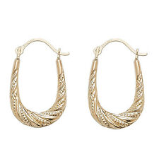 9ct Gold Patterned Hoop Creole Earrings