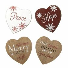 Set of 4 Heart Shaped Christmas Coaster Set Tied Together as a Gift Set
