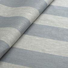 5 Meter Leinenstoff Rissa (gestreift Grau Rauchblau B 50 cm)